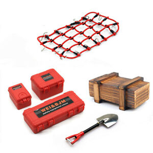 Roof-Luggage-Suitcase-Box-Shell-amp-Net-Set-for-1-10-Traxxas-TRX4-SCX10-RC-Crawler