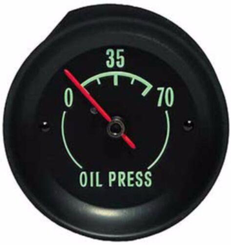 1968-71 CORVETTE OIL PRESSURE GAUGE-GREEN CHARECTERS-NEW-GM RESTORATION PART