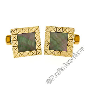 Vintage-Men-039-s-18K-Yellow-Gold-Inlaid-Black-Mother-of-Pearl-Etched-Cuff-Links