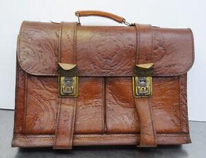 Vintage Shabby Tasche Ältere Chic Leder Braun Aktentasche Echt Ledertasche UARUfqwr
