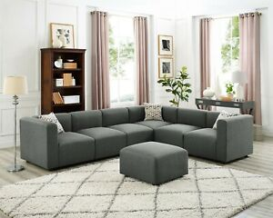 Details About Sectional Sofa Gray Linen Fabric Modular Couch With Accent Pillows