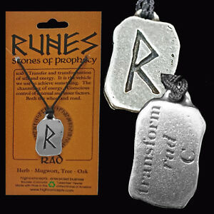 VIKING-NORSE-PAGAN-RUNE-034-RAD-034-TRANSFORMATION-WICCA-2-sided-Amulet-Pendant-Cord