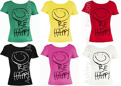 Other The Cheapest Price Girls Short Sleeve Be Happy Print T Shirts Top Casual Tee Age 9-13yrs Relieving Heat And Thirst.