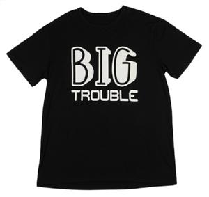 BIG TROUBLE on Black Men/'s T-Shirt by Ganz Size L//XL