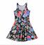 Vintage-Mod-Flower-Floral-Print-Trendy-Stretchy-Lightweight-Summer-Skater-Dress