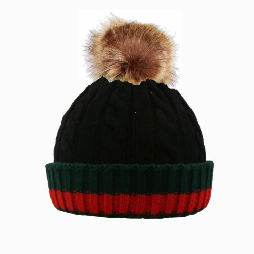 Winter Rib Knitted Beanie Hat with Chunky Faux Fur Bobble Pom Pom