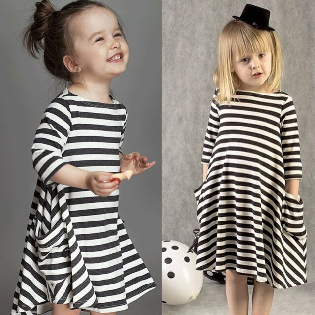 Toddler Baby Girls Striped Dress Long Sleeve Princess Party Dresses Kids Clothes