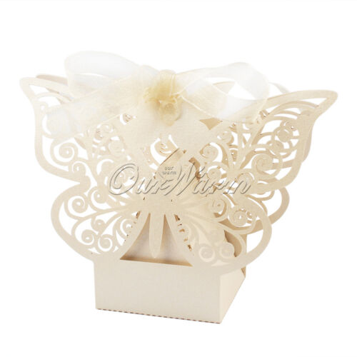 100x Laser Cut Paper Butterfly Sweet Candy Box Gift Boxes Party Wedding Favors