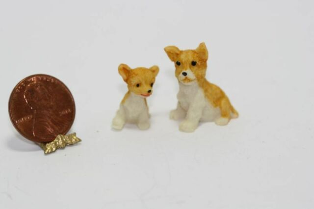 1:12 Scale     * Brown and White Dollhouse Miniature Set of Three Rabbits