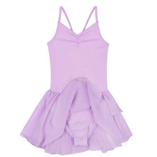 Kids Girls Ballet Dance Tutu Leotard Dress Gymnastics Skating Dancewear Costume
