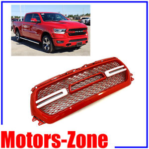 painted flame red grill for 2019 2020 dodge ram 1500 grille w smoke led lights ebay ebay