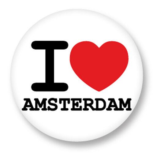 Magnet Aimant Frigo Ø38mm I Love Heart Coeur J'aime Amsterdam Pays Bas
