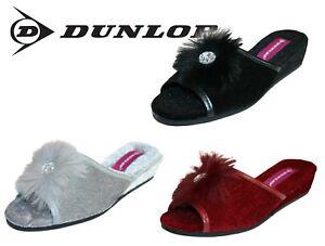 0f1d9b175c2 Dunlop Ladies Women s Diana Jewelled Wedge Mule Slippers Sizes 3 - 8 ...
