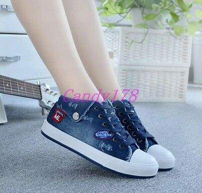 New Ladies Lace Up Denim Jean Flats Trainers Low Top Athletic Sports Shoes Size