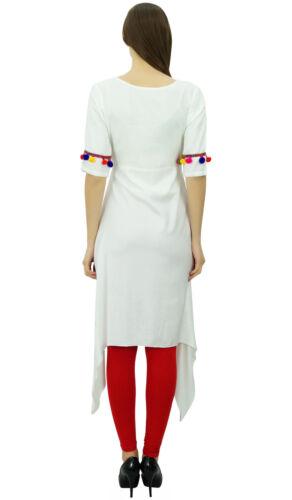 Phagun Vêtements Haut Tunique Kurta Angrakha Kurti Pom De Long Rayonne Style pom OWFTqvwO6