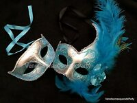 Turquoise Masquerade Ball Mask Pair Dress Up Sweet 16s Quinceneara Party Dance
