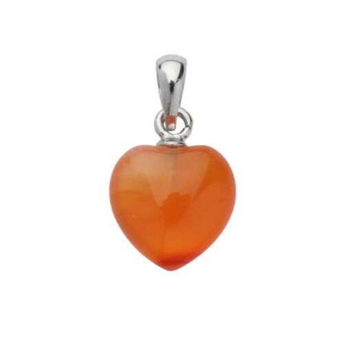 925 Sterling Silver Carnelian Gemstone Heart Pendant Necklace Chain Included