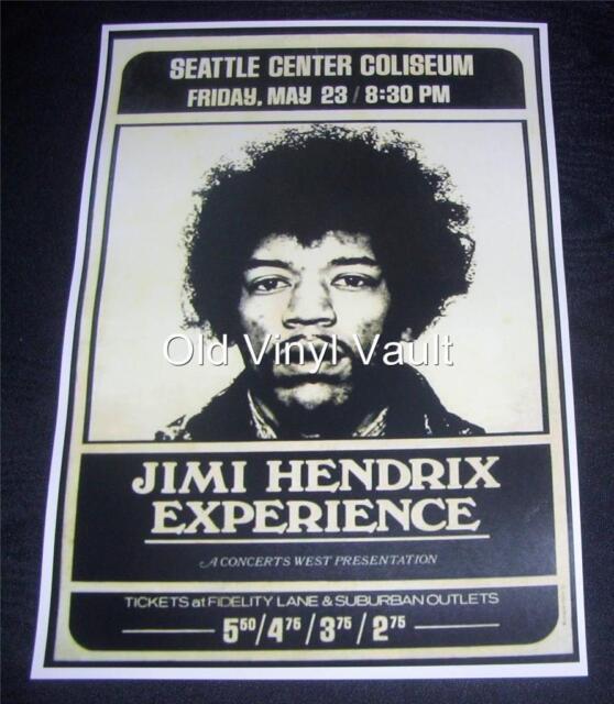 Jimi Hendrix  Seattle Center Coliseum 1969  Repro Concert Poster