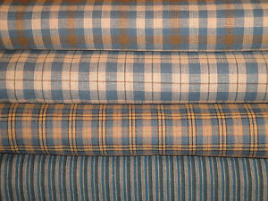 Blue-Homespun-Fabric-Cotton-Quilt-Fabric-Primitive-Woven-Sewing-Fabric