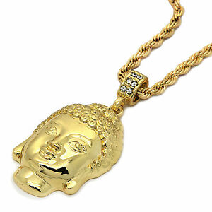 Mens-14K-Gold-Plated-Buddha-Pendant-Hip-Hop-4mm-24-034-Rope-Chain-pendant