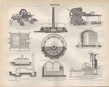 Lithografie 1890: Mauersteine. Ofen Kohle ZIEGELEI-TONWARENFABRIKATION Maschinen