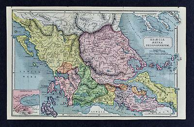 1908 Classical Map Ancient Greece Extra Peloponnesum Thermopyle