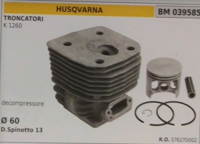 576270002 CILINDRO E PISTONE COMPLETO TRONCATORE HUSQVARNA K 1260 decompressore