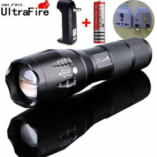 Ultrafire 50000LM T6 LED Flashlight Zoom Tactical 18650 Battery+Torch