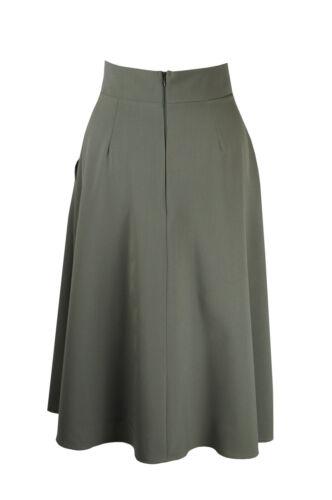 Baylis and Knight Khaki Flared Pocket MIDI Skirt Retro Pin Up Burlesque 50s Cute