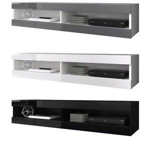 Details About Floating Tv Unit Cabinet Stand Volant 150 Cm White Grey Black Matte Gloss