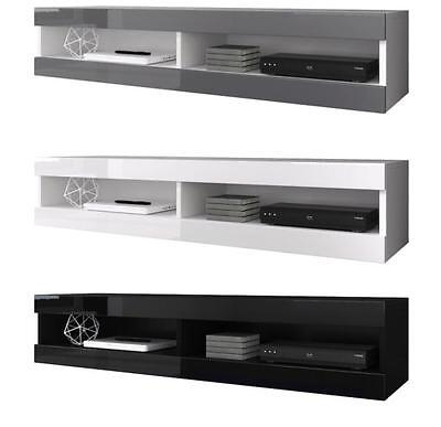 Floating Tv Unit Cabinet Stand Volant 150 Cm White Grey Black Matte Gloss Ebay