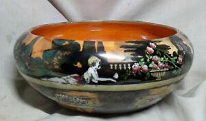 """Wilkinson`s `Pans Garden` Lustre Ware 8.3/4"""" Fruit Bowl, Bronze Colourway c1930"""