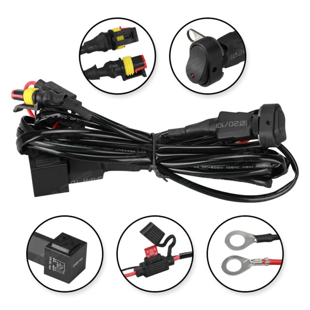 LED Fog Head Light Wiring Harness Switch On/off Fuse for BMW R1200gs ...