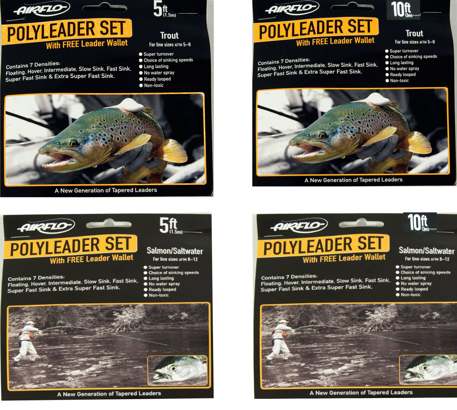 Airflo Poly Leader Set 5ft   10ft Trout or Salmon Saltwater + Free Wallet