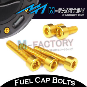 Gold CNC Billet Fuel Cap Bolts Yamaha YZF R1 99-04 05 06 07 08 09 10 11 12 13