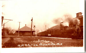 S21-1963-Vintage-RPPC-Postcard-Boonville-NY-RR-Station-Depot-Train-Steam-c-1910