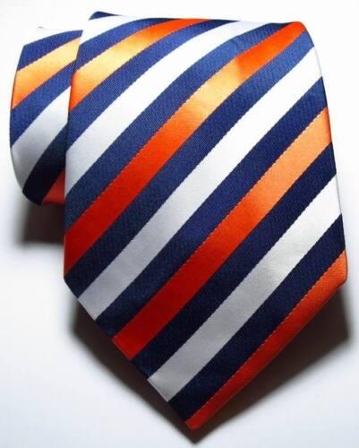 New Classic Striped Orange Dark Blue White JACQUARD WOVEN Silk Men/'s Tie Necktie