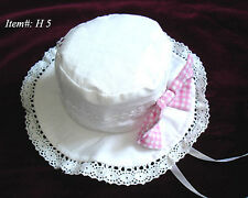 Elegant Gothic Sweet Lolita Punk #H5 Pink Butterfly Lace Mini Top Hat White
