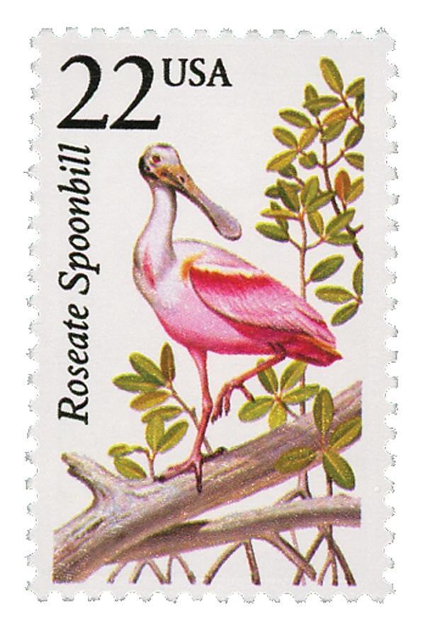 1987 22c Roseate Spoonbill, North American Wildlife Sco