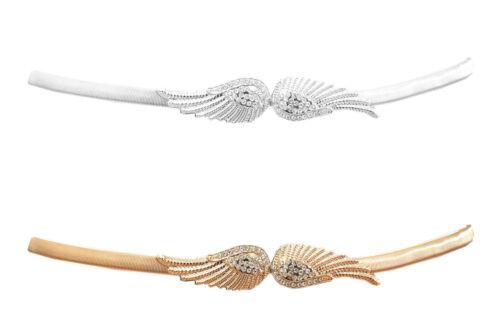 Damen Gürtel Kette Gürtelkette Flügel Strass Stretch Taillengürtel 9919-3