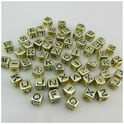 100PCS 7MM GOLD//BLACK Mixed A Z Alphabet Letter Acrylic Cube BEADS