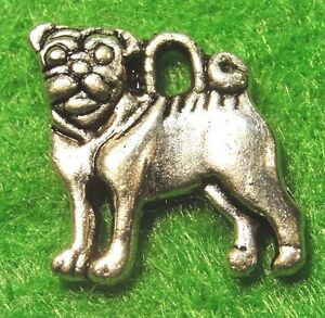 10Pcs-Tibetan-Silver-2-Sided-PUG-DOG-Charms-Pendants-Earring-Drops-Finding-D26