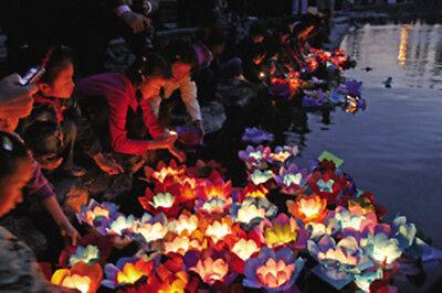 Chinese Lotus Flower Paper Wishing Lamp Floating Water Light Lanterns Wedding
