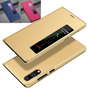 Flip-Leather-Smart-Case-For-Huawei-P-Smart-Clear-Vie-Stand-Cover-P20-OnePlus-6