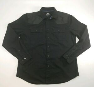 Ecko-Unlimited-Black-Long-Sleeve-Button-Down-Shirt-Mens-Sz-Large