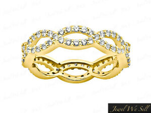 Real-1-45Ct-Round-Diamond-Weave-Eternity-Wedding-Band-Ring-18k-Yellow-Gold-F-VS2