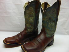 Women's 7.5 Ariat Green & Brown Leather Square Toe Western Cowgirl Riding Boots