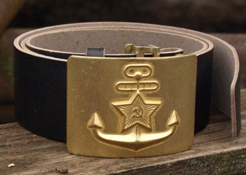 Belt of the seaman of the Navy of the USSR Leather Black Belt with Brass Plaque