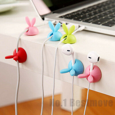 New 4Pcs Cute Smart Cable Organizer Holder Line Fixer for Home Office Desk