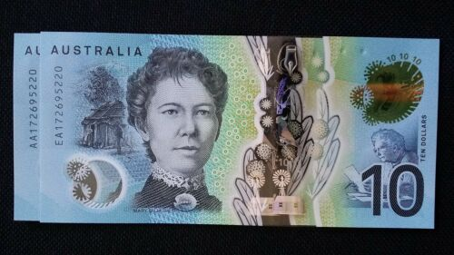 $10 2017 AA17 EA17 FIRST /& LAST PREFIX MATCHING SERIAL NUMBER x 2 UNC Banknotes